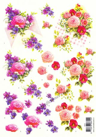 Bouquets of Rose & Pansy Flowers 3d Decoupage Sheet